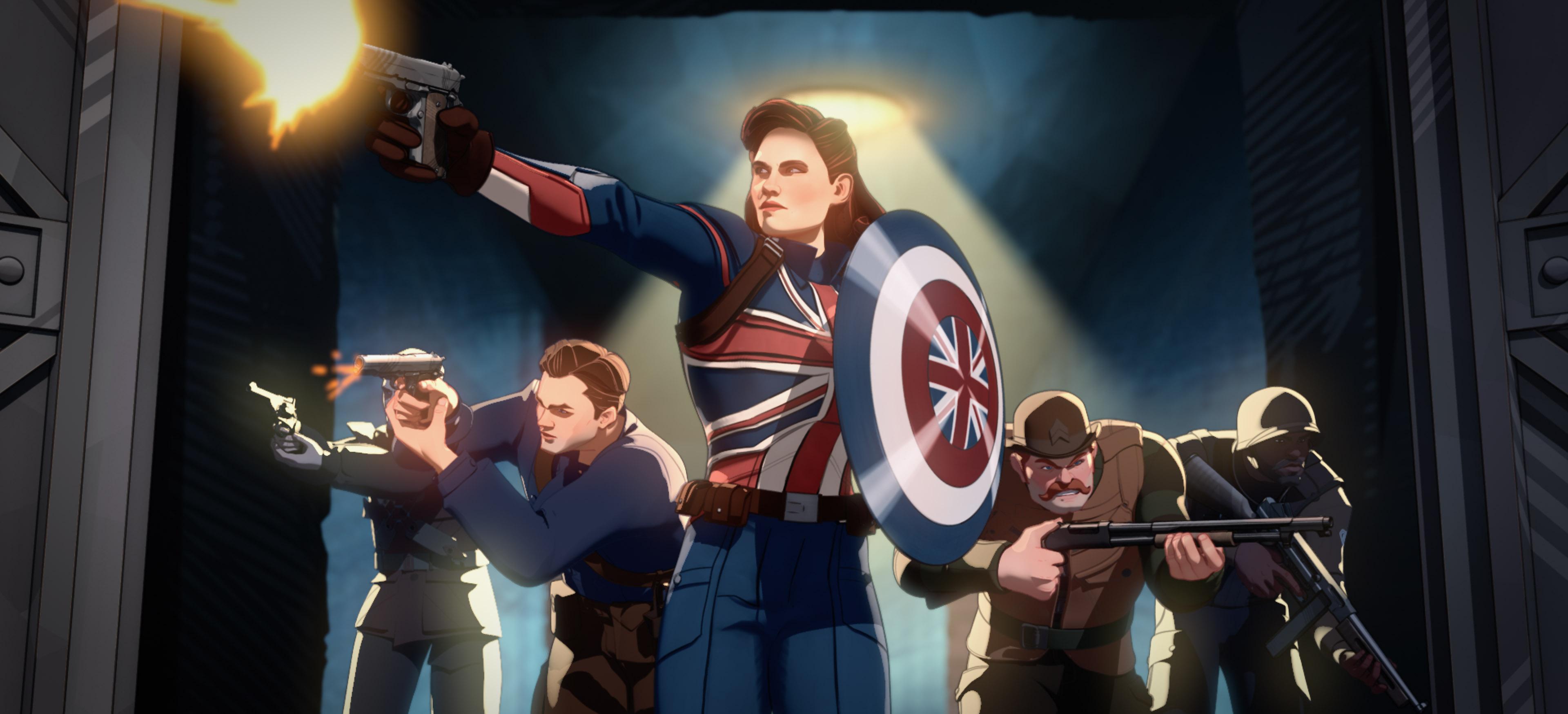 Capitaine Carter (au centre) et commandes hurlantes de Marvel Studios